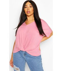 plus knot front oversized t-shirt, dusky pink
