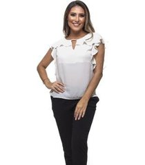 blusa clara arruda decote babado 20463 - feminino