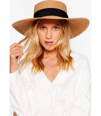 womens throwin' shade straw boater hat - tan