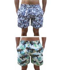 kit 2 bermuda short moda praia estampada dollar e tartaruga
