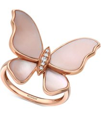 effy mother-of-pearl & diamond accent butterfly ring in 14k rose gold