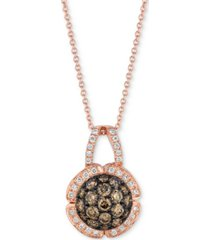 "le vian chocolatier diamond cluster 18"" pendant necklace (7/8 ct. t.w.) in 14k rose gold"