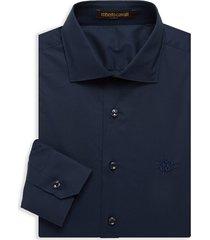 roberto cavalli men's embroidered logo dress shirt - navy - size 15.75 40