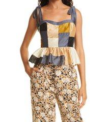 women's ulla johnson helia tie shoulder peplum tank, size 6 - brown