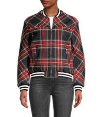 maje women's blouson jacket - black red - size 38 (m)
