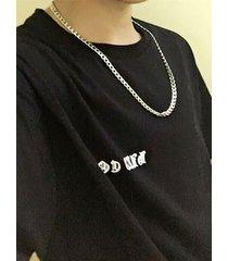 collar de cadena de acero de titanio plateado estilo callejero para hombre