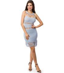 vestido pink tricot curto cordão recortes vazados azul claro