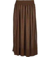 agnona brown cotton-silk blend skirt