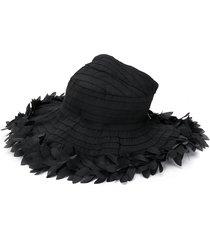 monnalisa floral appliqué sun hat - black