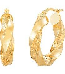 saks fifth avenue women's 14k yellow gold twist round hoop earrings