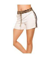 trendy shorts met contrast strepen wit