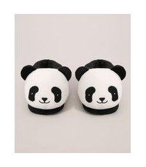 pantufa infantil panda antiderrapante branca