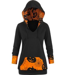 cobwebs pumpkin front pocket halloween plus size hoodie