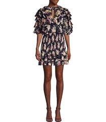 floral silk & cotton ruffle mini dress