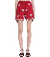 red valentino shorts in red cotton