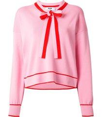msgm ribbon-embellished cotton sweatshirt - pink