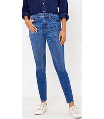loft curvy high waist skinny jeans in authentic dark indigo wash