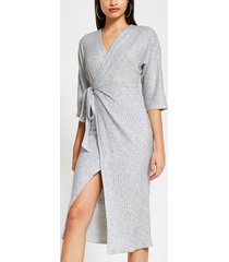 river island womens grey cosy robe wrap batwing dress