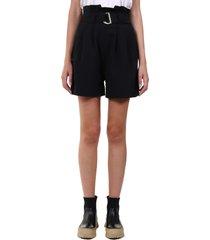ganni heavy crepe shorts black