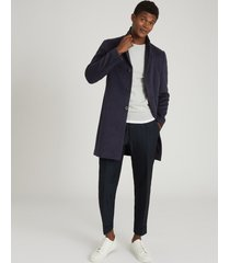 reiss guild - wool blend epsom overcoat in airforce blue, mens, size xxl