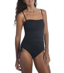 women's la blanca island goddess one-piece swimsuit, size 14 - black
