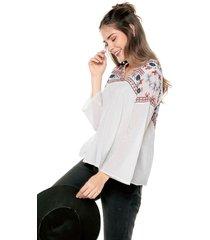 blusa blanca-multicolor esprit