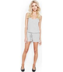 marlin tank shorts romper - l heather grey