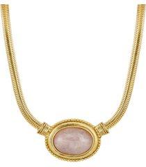 2028 gold-tone semi precious oval stone necklace