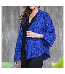 batik jacket, 'indigo garden' (indonesia)