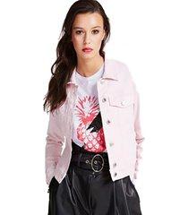 chaqueta adelya zip rosado guess