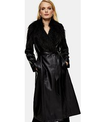 black pu coat with faux fur trim - black