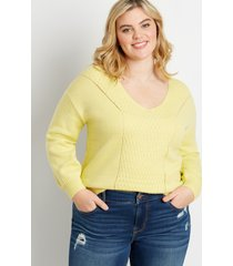 maurices plus size womens yellow pointelle front pullover sweater