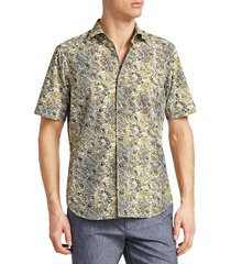 saks fifth avenue men's collection leaf-print cotton shirt - green - size l