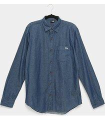 camisa jeans new era denim manga longa masculina