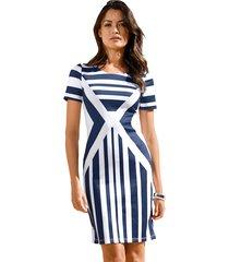 jersey jurk amy vermont blauw::wit