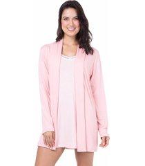 robe viscolycra homewear rosa - 589.0715 marcyn lingerie pijamas rosa