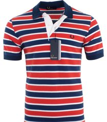 fred perry men's cotton pique polo shirt striped size s, m, l, xl, xxl