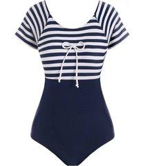 cutout tie sailor striped one-piece swimsuit
