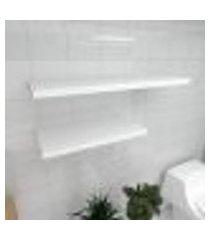 kit 2 prateleiras banheiro em mdf sup. inivisivel branco 1 60x30cm 1 90x30cm modelo pratbnb32