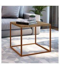 mesa lateral industrial artesano cube quadrada vermont e cobre