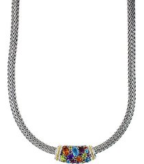 semi-precious, multi-stone sterling silver and 18k yellow gold barrel pendant necklace