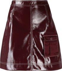 ganni patent a-line skirt - purple