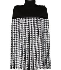balmain houndstooth pleated cape coat - black