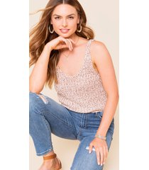 women's brigette marled sweater tank top in ivory by francesca's - size: l