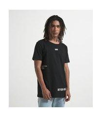 camiseta manga curta com estampa escrita | blue steel | preto | pp