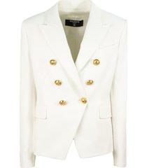 balmain white cotton blazer