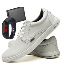 tênis sapatênis casual fashion com carteira e relógio led fine masculino dubuy 1401el areia