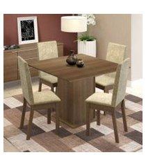 conjunto sala de jantar maggie madesa mesa tampo de madeira com 4 cadeiras rustic/imperial rustic