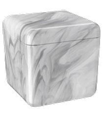 porta-algodão/cotonete cube 8,5 x 8,5 x 8,5 cm mármore branco coza mármore branco coza
