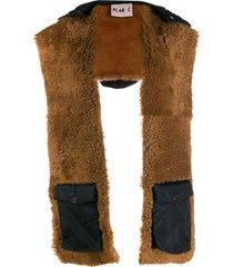 plan c hooded shearling scarf - brown